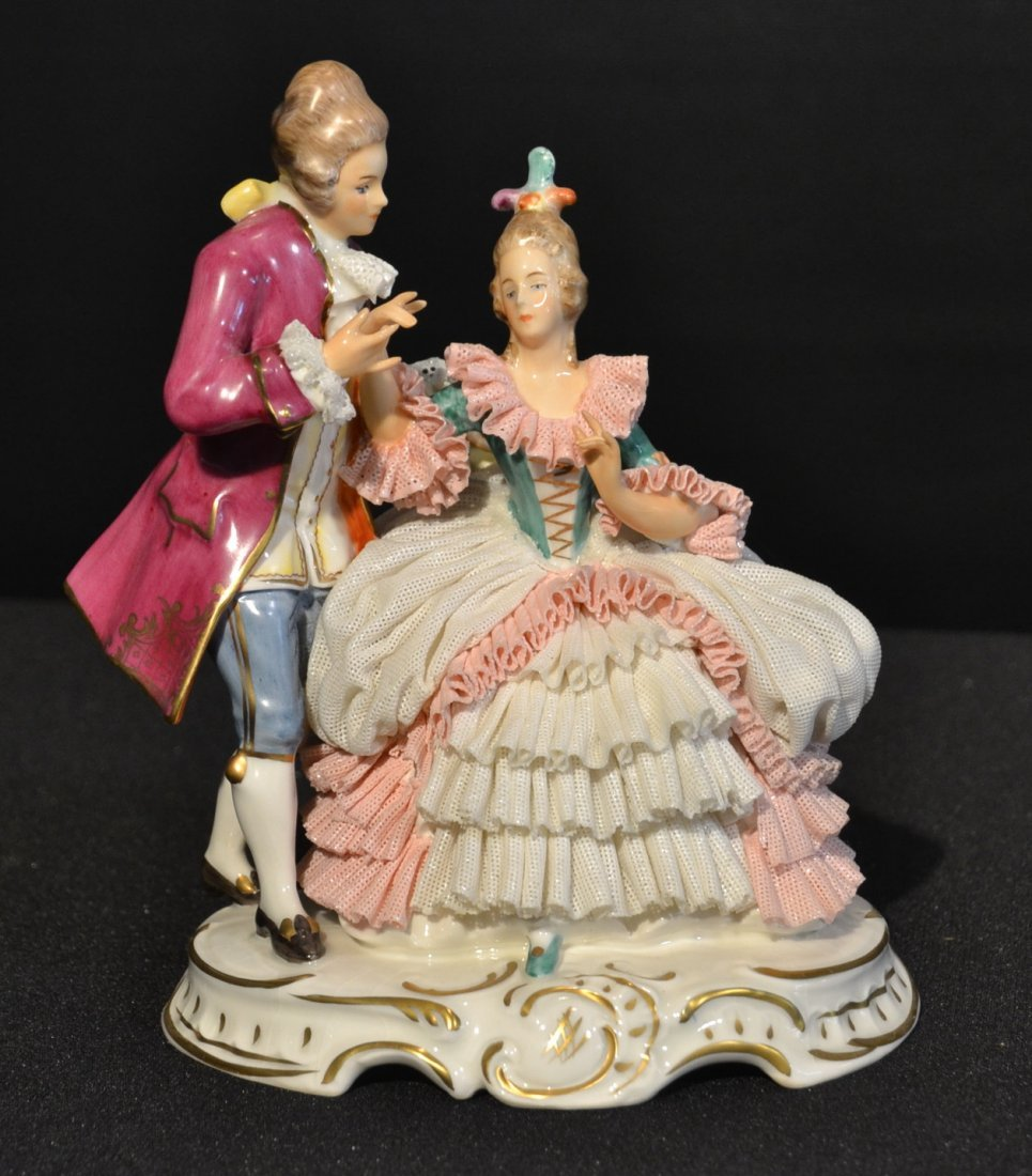 DRESDEN PORCELAIN COURTING COUPLE - 7 3/4""