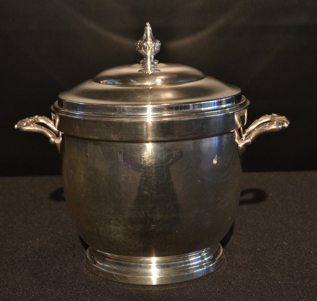STERLING SILVER ICE BUCKET & COVER WITH