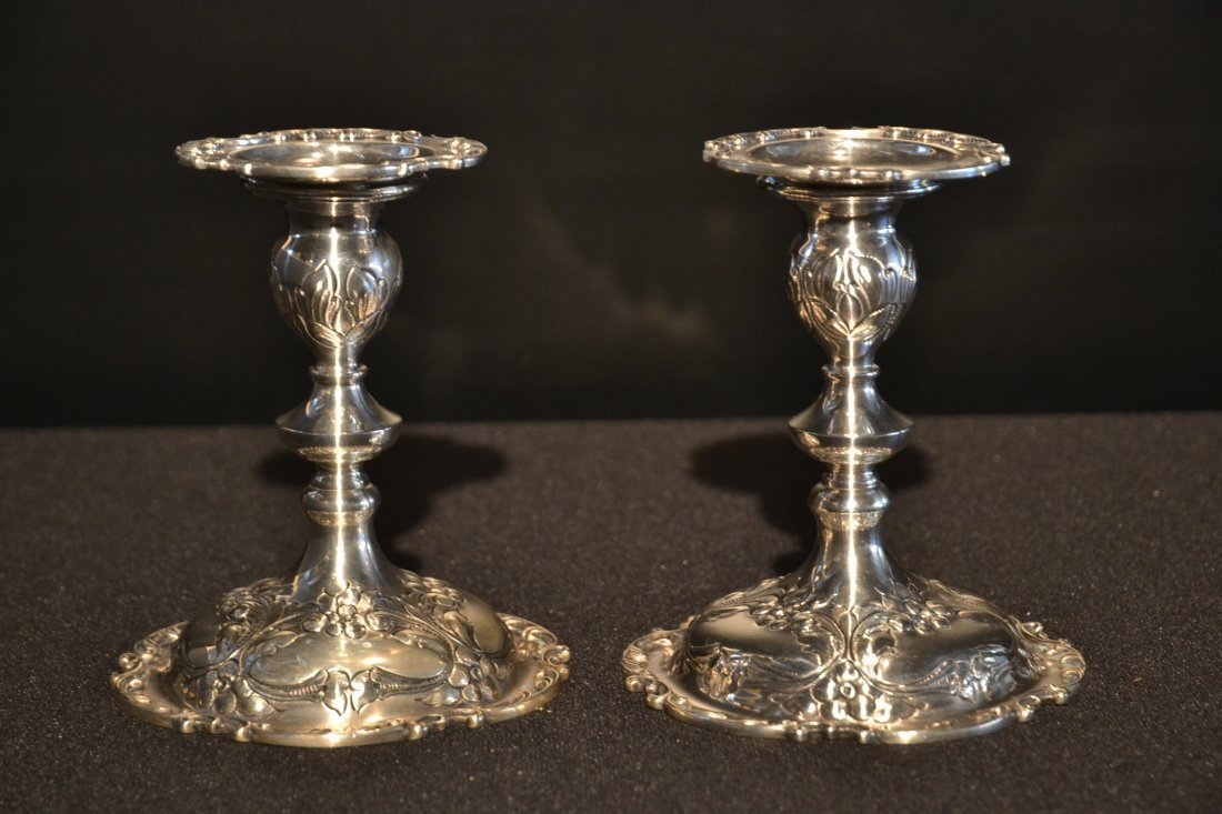 (Pr) 2-PART HAND CHASED STERLING CANDLESTICKS
