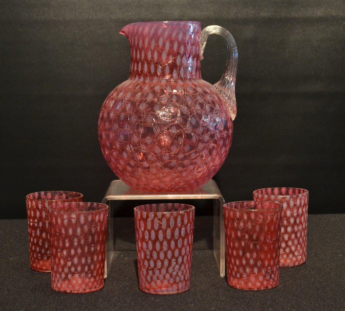 OPALESCENT CRANBERRY CRACKLE GLASS LEMONADE