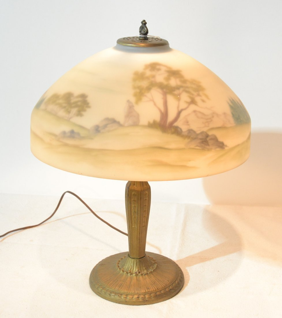 SCENIC REVERSE PAINTED SHADE LAMP ; ARTIST SIGNED