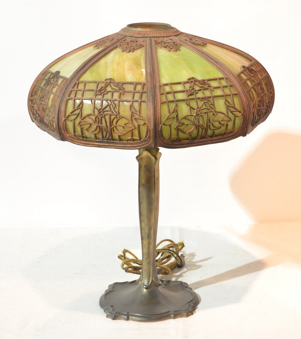 8-PANEL GREEN SLAG GLASS LAMP WITH FLORAL FILIGREE