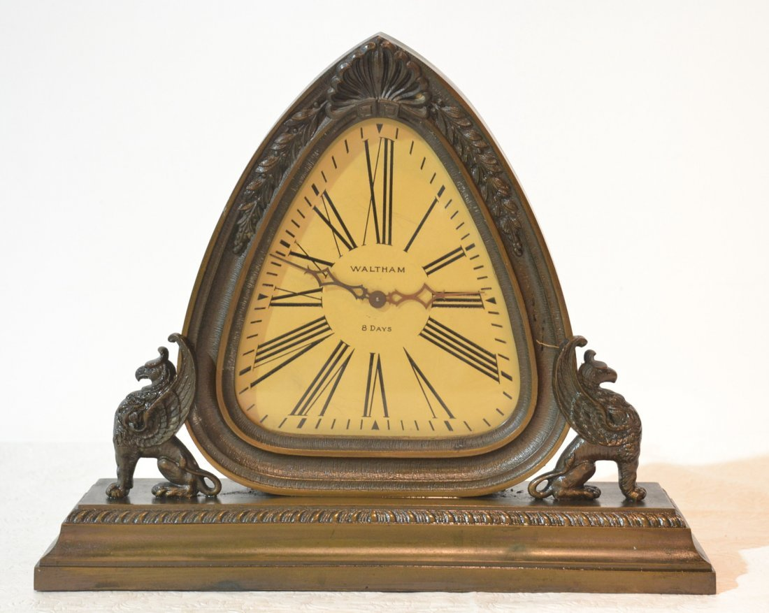 1930's SOLID BRONZE WALTHAM 8-DAY CLOCK WITH