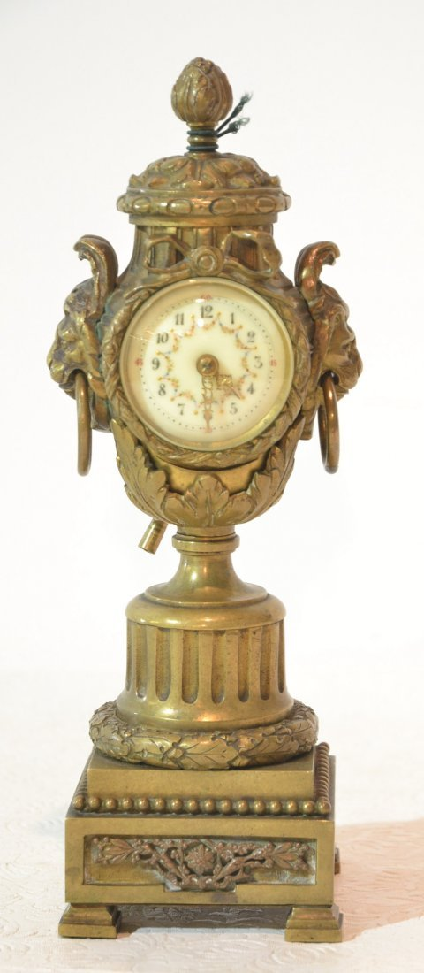 19thC FRENCH BRONZE TOWER CLOCK WITH MASKS &