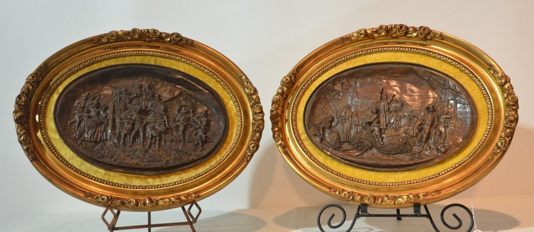 (2) FRAMED COPPER RELEIF PLACQUES SIGNED