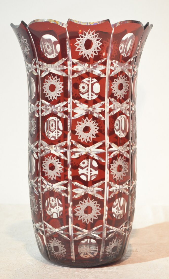 """RUBY CUT TO CLEAR VASE - 7 3/4"""" x 12 3/4"""""""