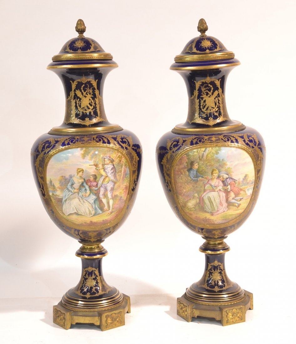 (Pr) PALATIAL HAND PAINTED SEVRES COVERED URNS