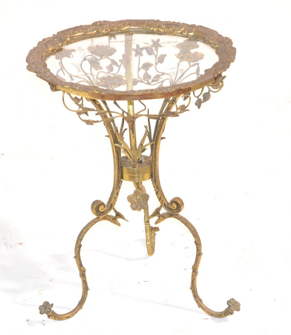 BRONZE FLORAL FOLIATE TABLE WITH ETCHED GLASS