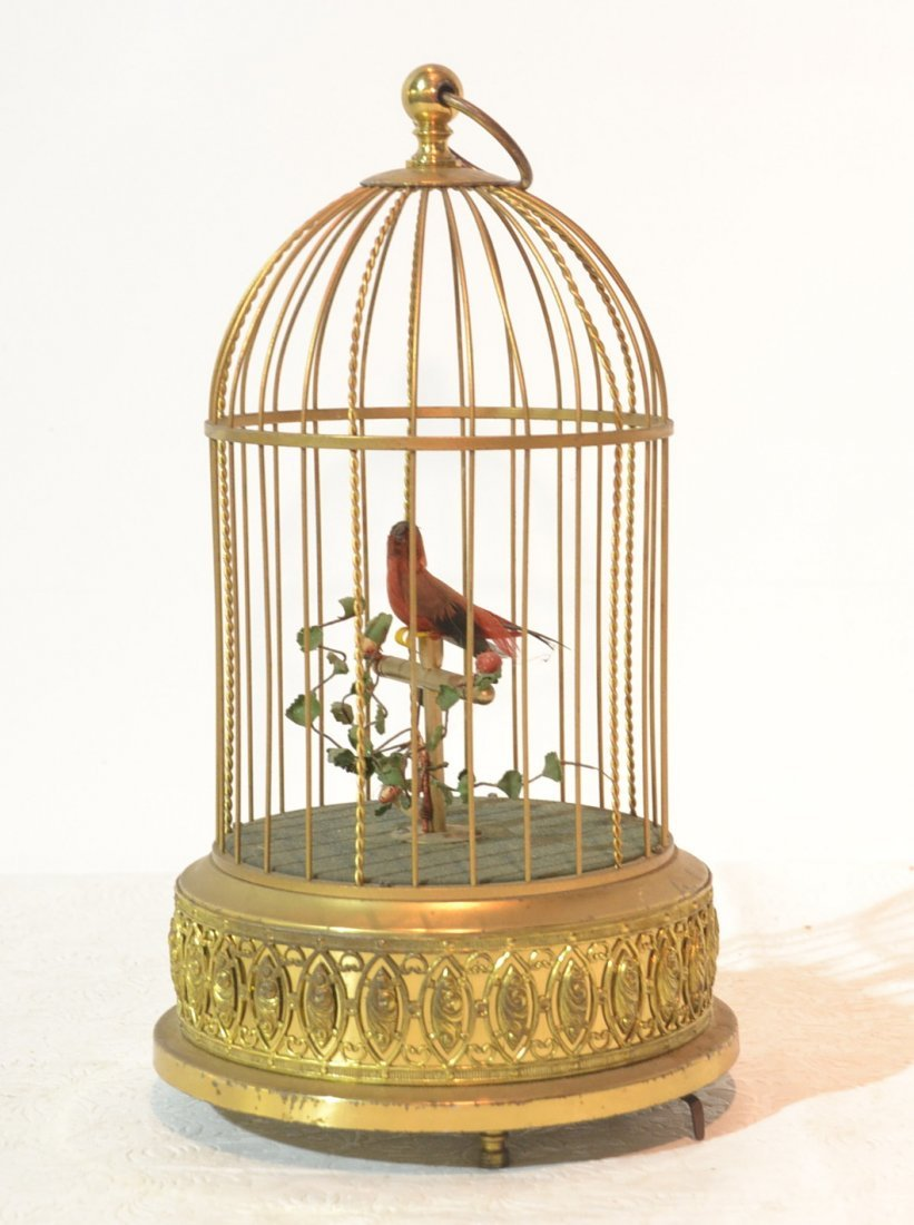 "GERMAN BRONZE BIRDCAGE MUSIC BOX - 11 1/2"" TALL"