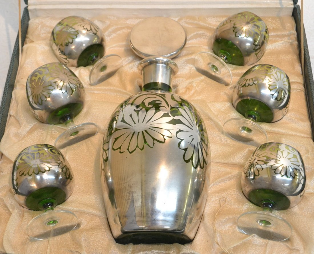 SILVER MOUNTED GREEN GLASS DECANTER SET