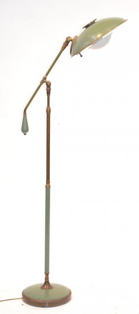 METAL & BRASS 1940's LIGHTOLIER FLOOR LAMP BY