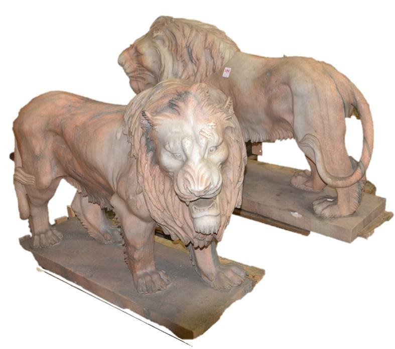 (Pr) CARVED LIFE SIZE MARBLE STRIDING LIONS ON