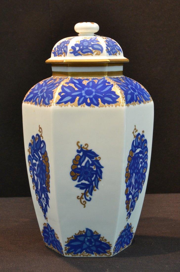 """BLUE & WHITE ROSENTHAL GINGER JAR - 12"""""""