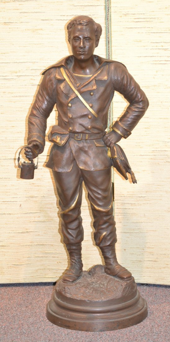 BRONZE SOLDIER WITH BAYONETTE SIGNED FERARI