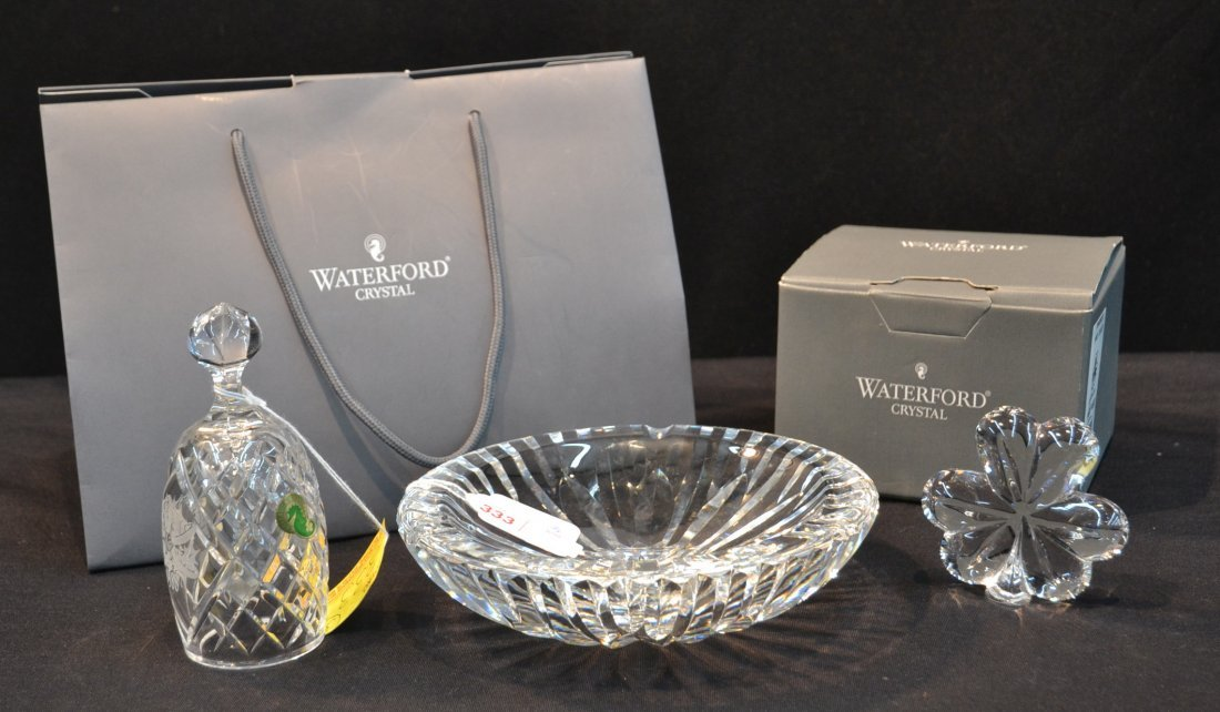WATERFORD BELL, SHAMROCK PAPERWEIGHT & ASHTRAY