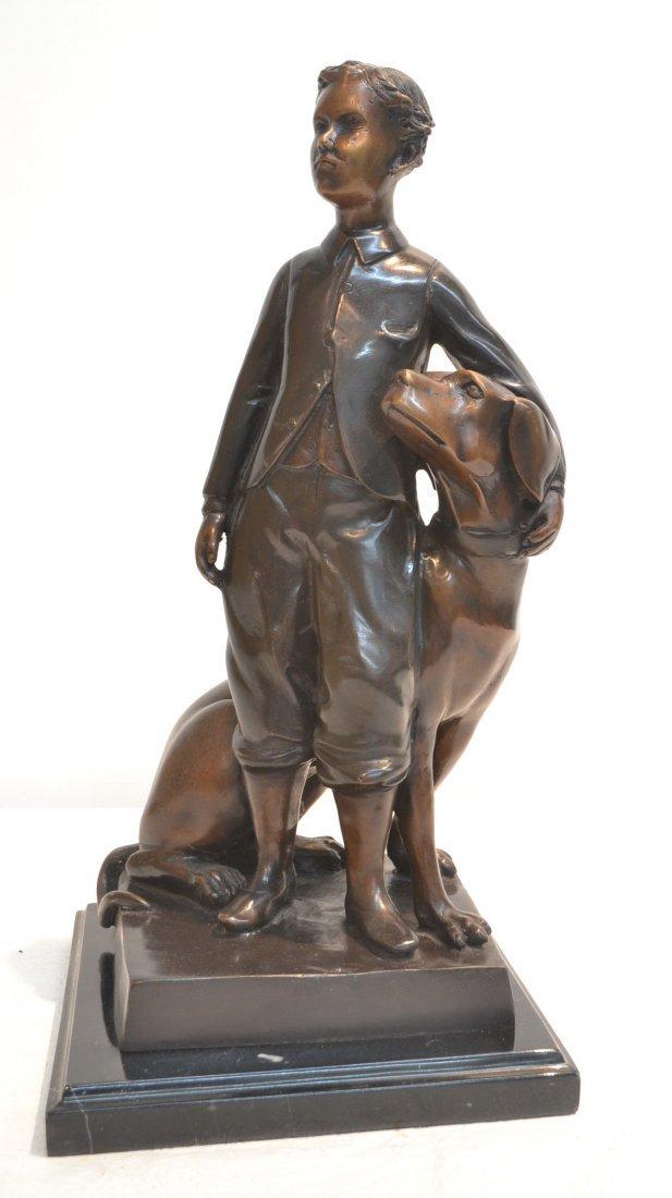 "BRONZE BOY WITH DOG ON MARBLE BASE - 9"" x 9"" x 18"""