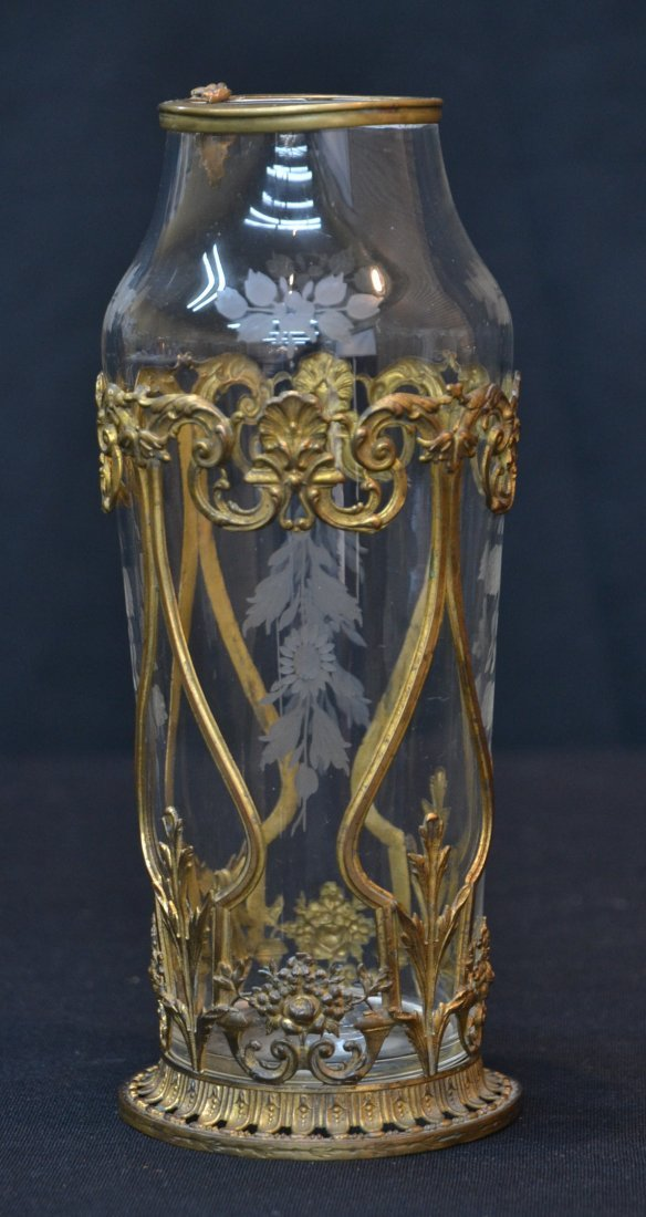 """ETCHED VASE WITH BRONZE ORMOLU - 8"""" TALL"""