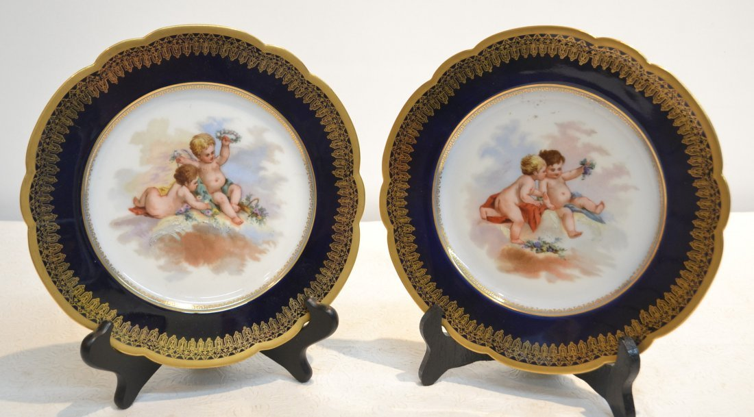 (Pr) HAND PAINTED COBALT GROUND SEVRES PLATES WITH