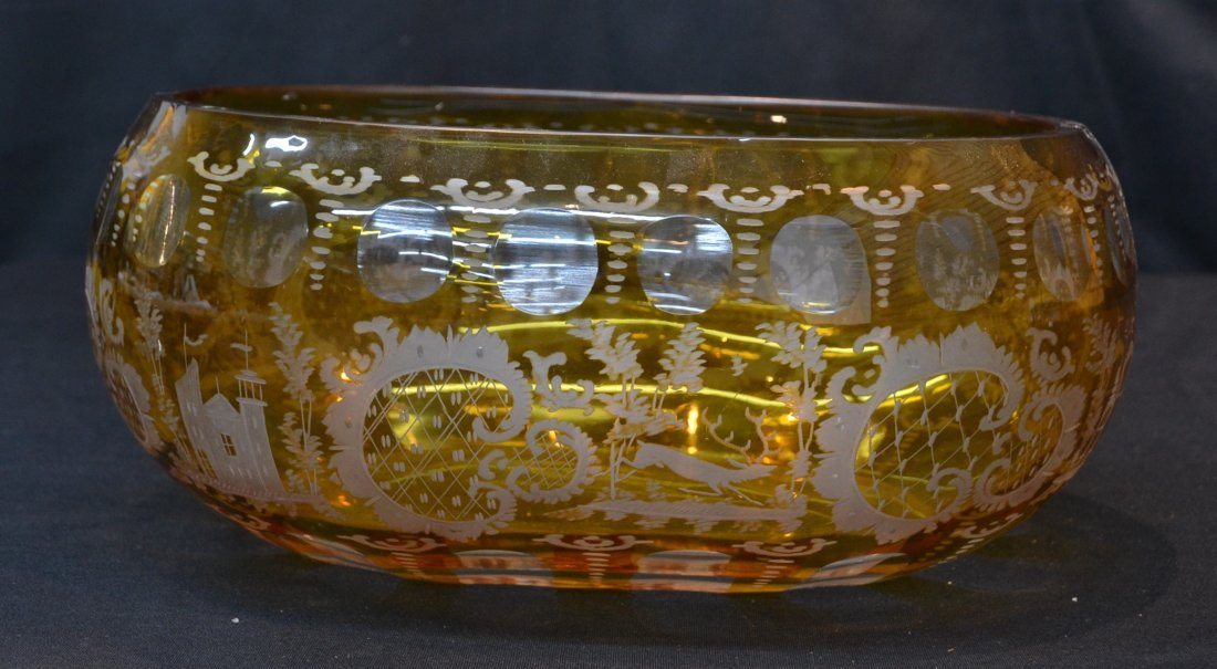 AMER ETCHED BOHEMIAN BOWL WITH CASTLES & DEER