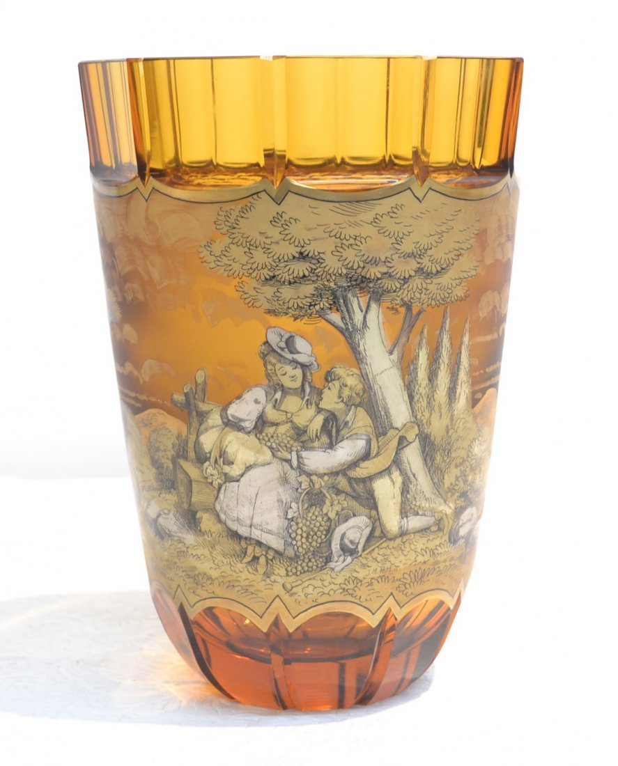 AMBER VASE WITH FIGURES IN SCENIC LANDSCAPE
