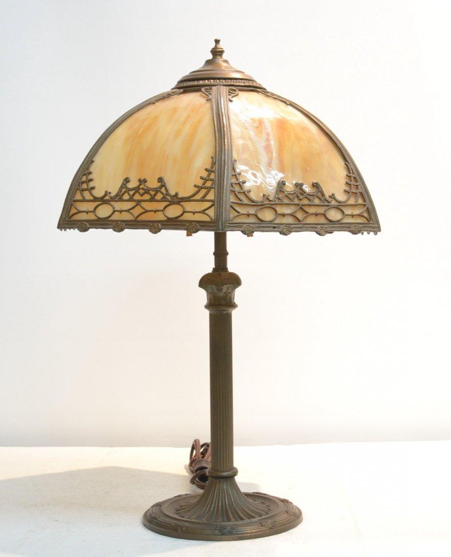 "6-PANEL SLAG GLASS LAMP - 14"" x 25"""