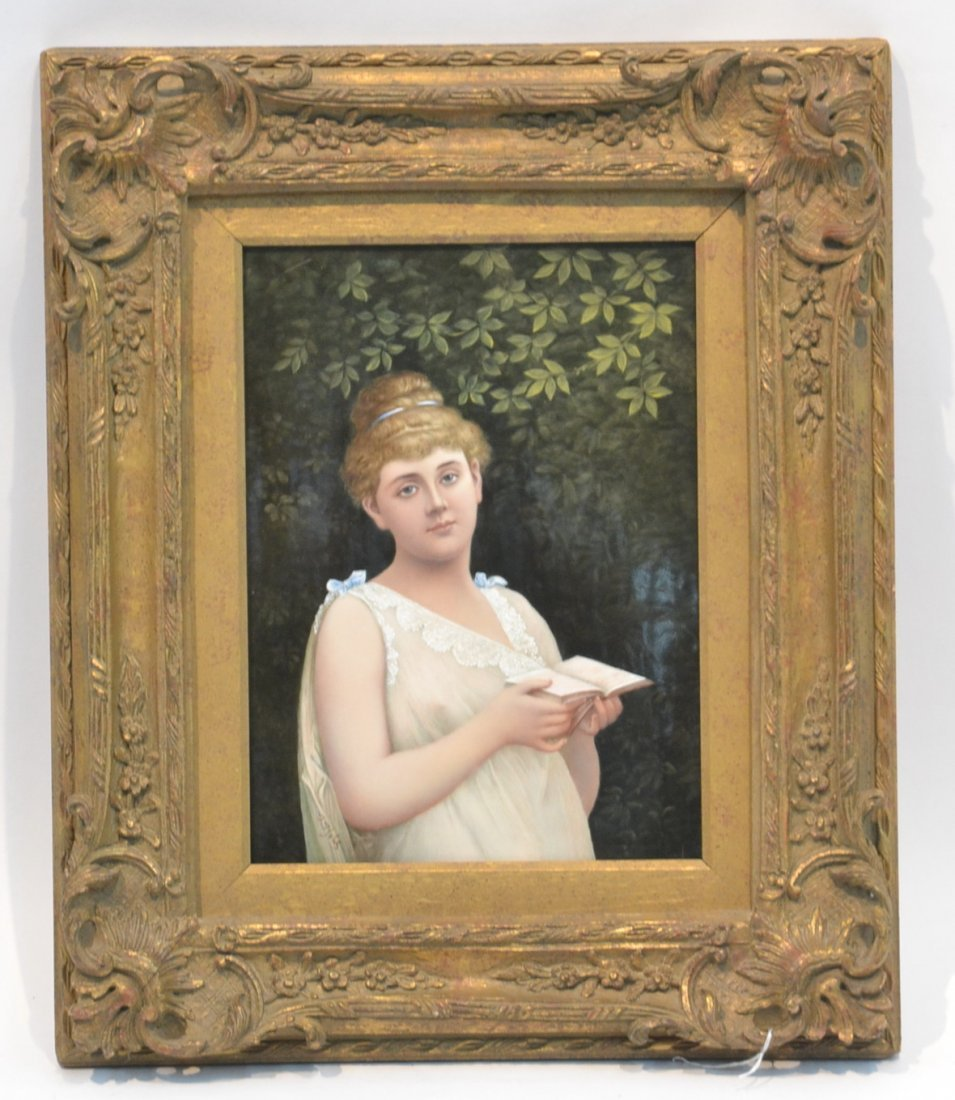 LARGE HAND PAINTED PORCELAIN PLAQUE OF