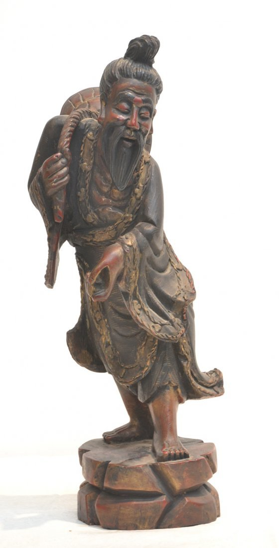 """CARVED WOODEN ORIENTAL MAN - 18"""" TALL"""