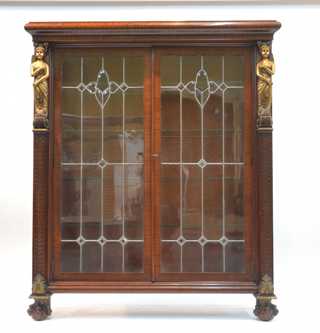 MAHOGANY LEADED GLASS BOOKCASE WITH GILT CARVED