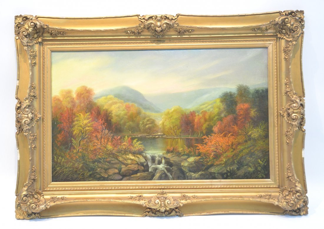 """OIL ON CANVAS """"VIEW IN THE CATSKILLS"""" HUDSON RIVER"""