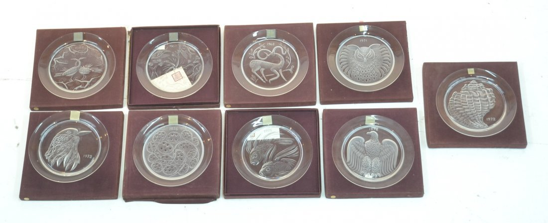 (9) LALIQUE CRYSTAL CALENDAR PLATES FROM