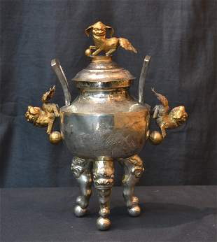 ORIENTAL SILVER PLATE COVERED URN WITH FOO DOG
