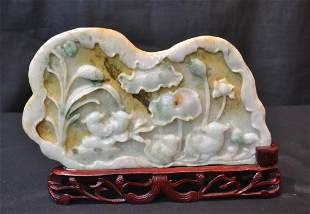 """CARVED JADE PLACQUE ON STAND - 9"""" x 5"""""""