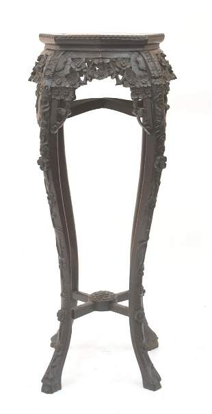 CARVED MARBLE TOP ORIENTAL STAND