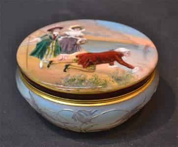 OPALESCENT DAUM NANCY ART GLASS & ENAMEL BOX