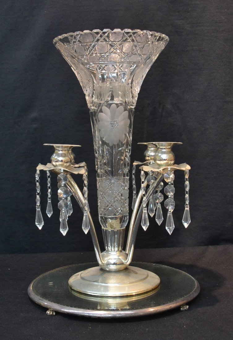 CRYSTAL & SILVER PLATE EPERGNE ON MIRRORED