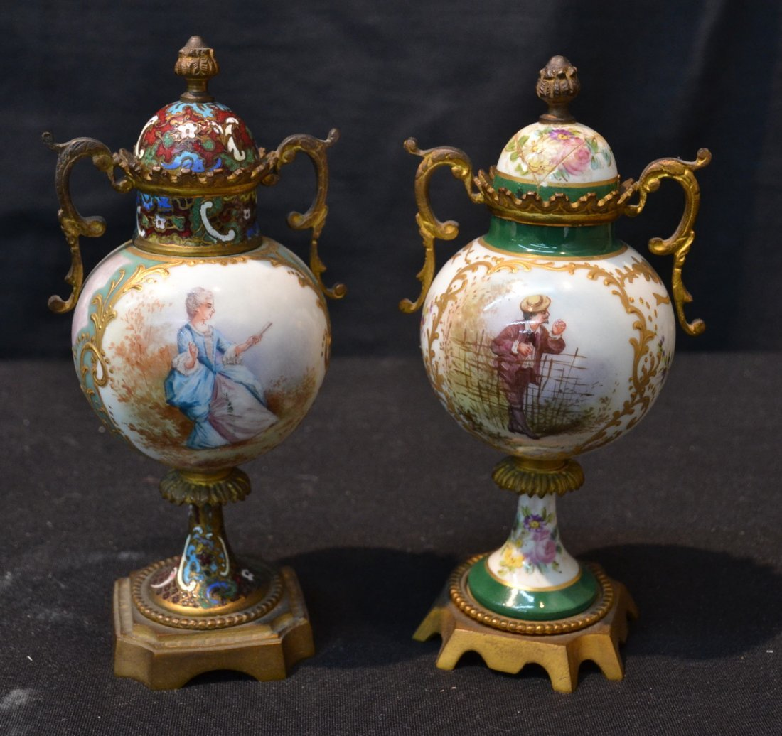 (2) HAND PAINTED SEVRES CABINET COVERED URNS