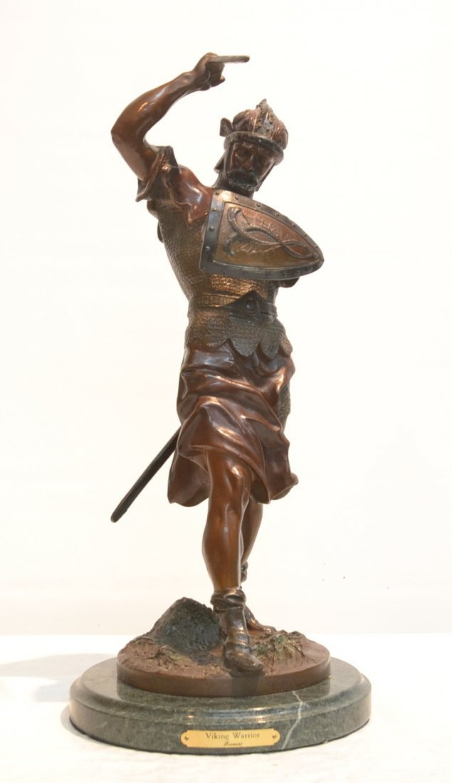 BRONZE VIKING WARRIOR RAISED ON MARBLE BASE