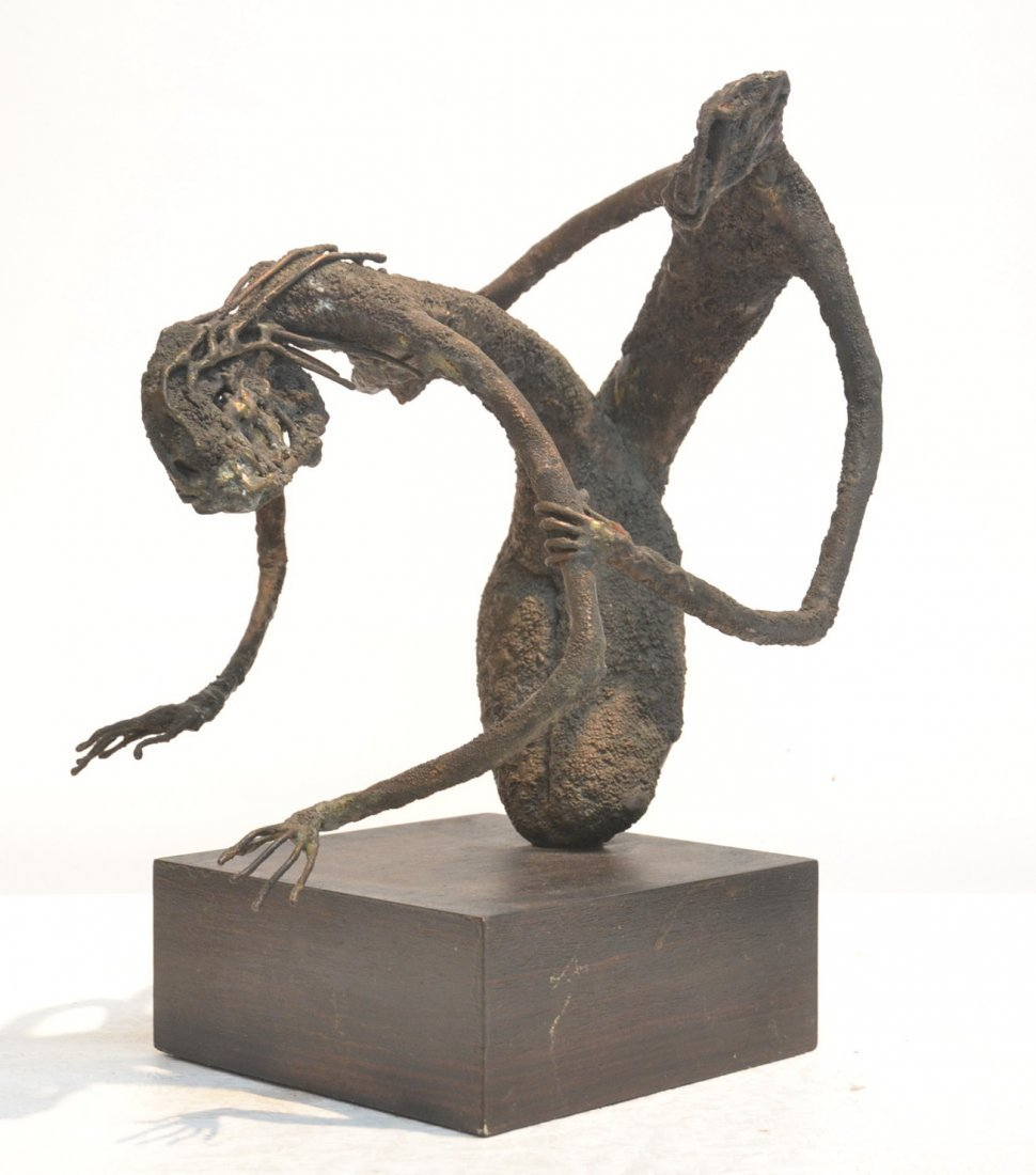 EROTIC BRONZE SCULPTURE ON WOOD BASE