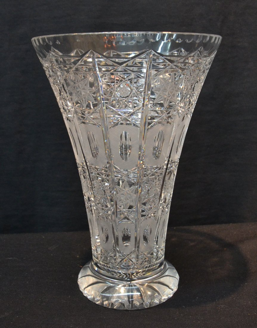 "LARGE CUT GLASS VASE - 8"" x 11 1/2"""