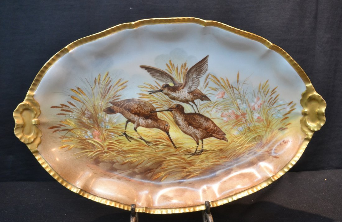 HAND PAINTED LIMOGES PHEASANT PLATTER SOLD BY