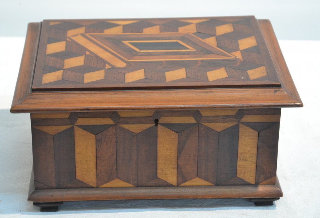 PARQUTERY INLAID SEWING BOX WITH FITTED INTERIOR