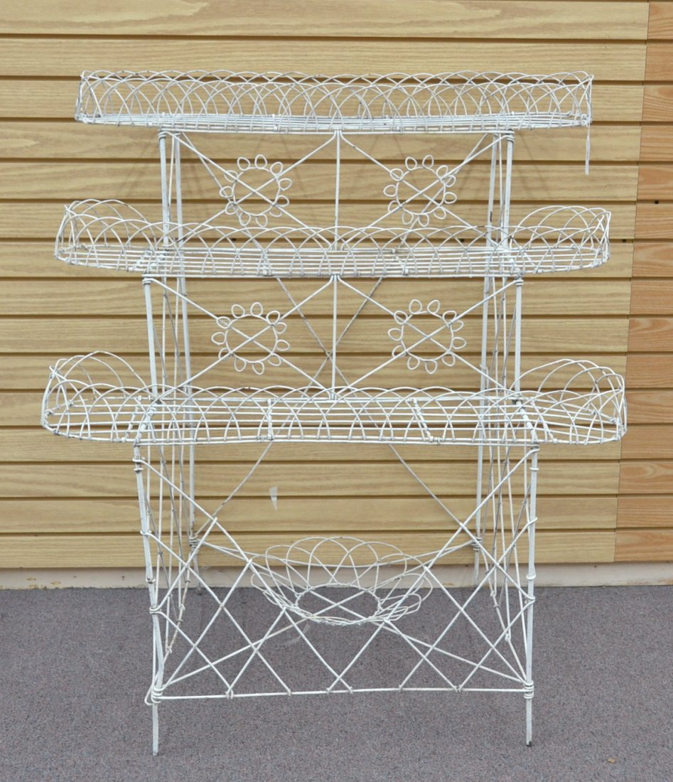 """3-TIER FRENCH WIRE PLANT STAND - 36"""" x 25"""" x 42"""""""