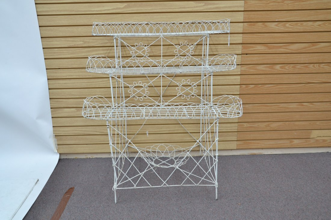 """3-TIER FRENCH WIRE PLANT STAND - 36"""" x 25"""" x 42"""" - 3"""