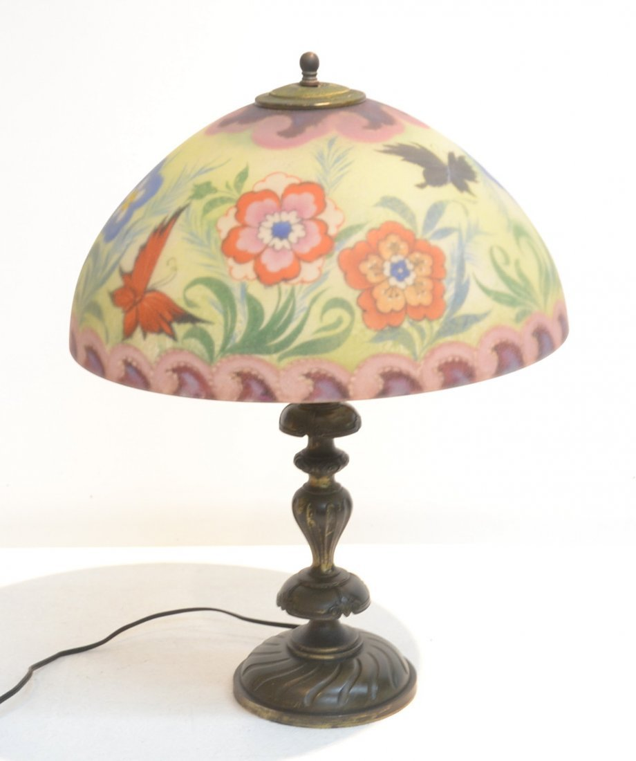 REVERSE PAINTED PAIRPOINT LAMP ADORNED WITH
