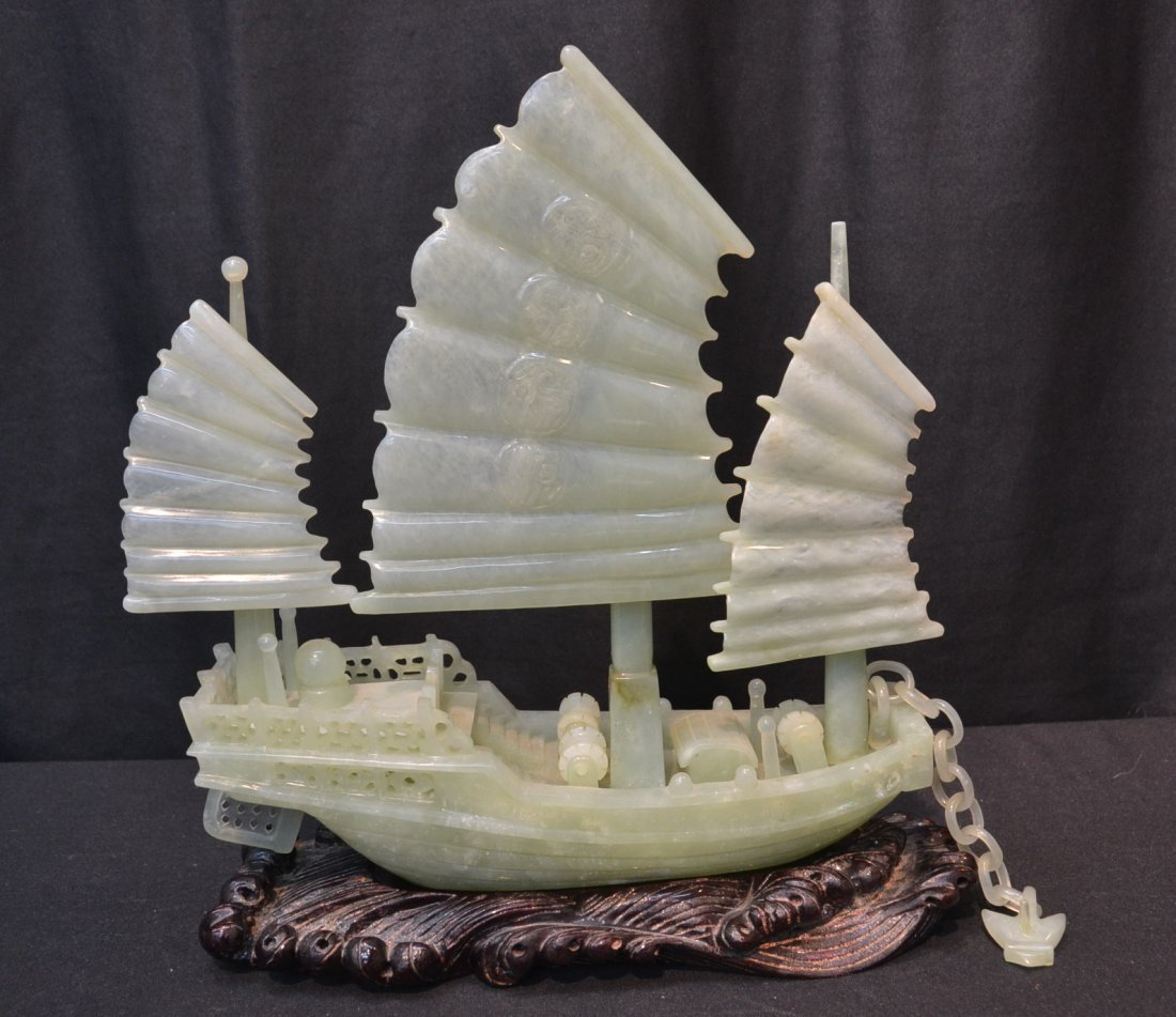 CARVED JADE BOAT WITH MOVEABLE MASTS ON