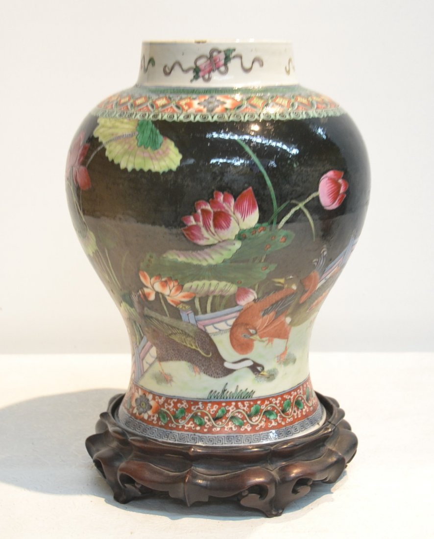 """LARGE CHINESE VASE ON STAND - 9' x 13"""""""