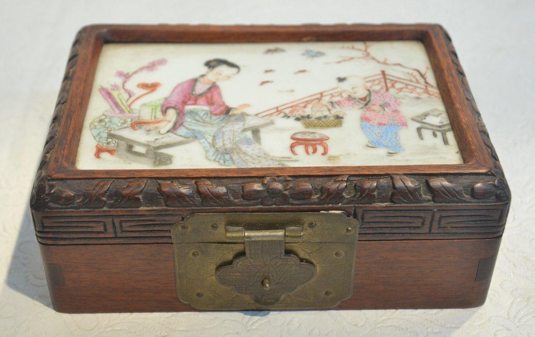 "CHINESE PORCELAIN & WOOD BOX - 6"" x 4"" x 2 1/2"""