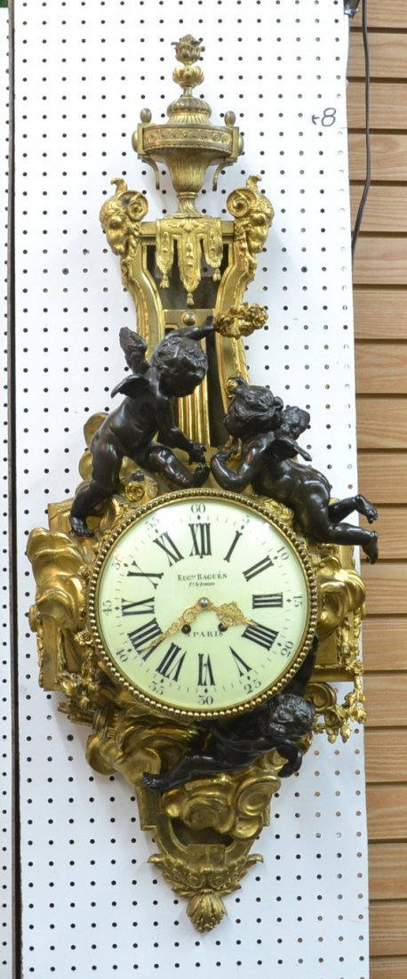 LARGE DORE & PATINATED FRENCH BRONZE CARTEL CLOCK