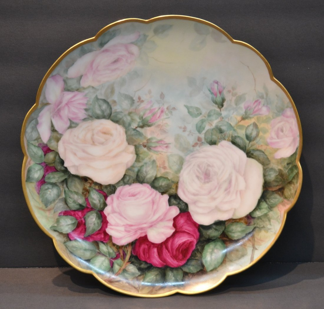 HAND PAINTED TV LIMOGES CHARGER WITH ROSES &
