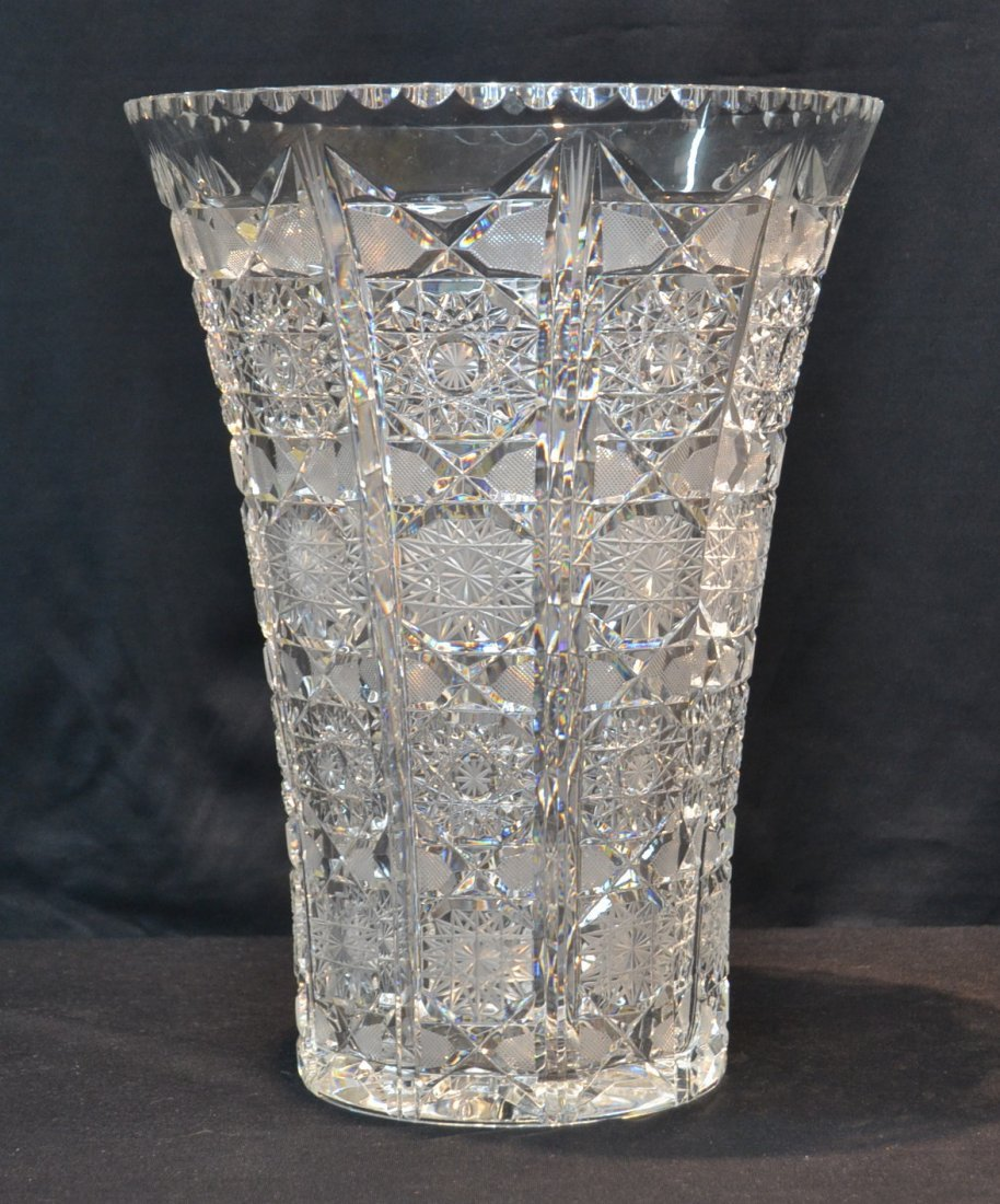 LARGE ANTIQUE BRILLIANT CUT GLASS VASE